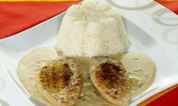 Champignonrahmschnitzel mit Reis
