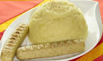 Vegane Grillwürstel mit Kartoffelpüree